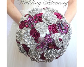 Marsala, burgundy silver brooch bouquet. Purple red wedding bridal broach bouqet. Alternative satin roses bling bouquet