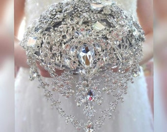 Full price brooch bouquet. Custom color design. Silver white ivory broach boquet. Wedding bridal alternative jeweled crystal bling bouqet