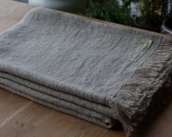 "Stonewashed Linen Throw with fringes - Natural Linen Baby Blanket 37x57"" - Lithuanian flax - Handmade - Eco-friendly - Made to order"