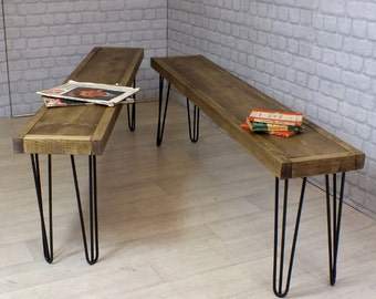 Hairpin legs vintage industrial reclaimed rustic timber mid century bench seating 1960s