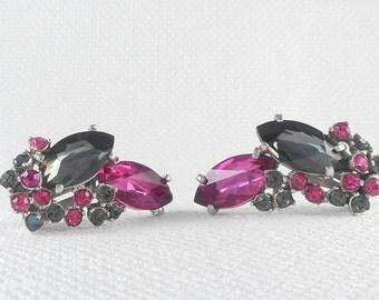 Vintage 1950's Rare Schiaparelli Rhinestone Clip Earrings Fuchsia Pink Schiaparelli Earrings Mad Men Earrings Mid Century Pink Earrings