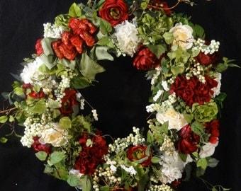 SALE Wreath,Extra Large Floral Grapevine Wreath,XL Silk Flower Wreath,Front Door Wreaths,Large Luxury Floral Wreath,Elegant Spring Wreath