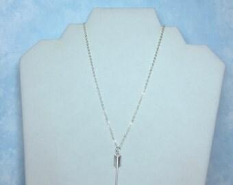 Arrow Necklace-Silver tone Arrow on fine silver plated necklace; Huntress; Archer jewelry; Arrow jewelry; Punk; Goth; Arrow-Chevron necklace