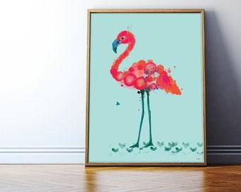 Florence. Flamingo print on foam pvc board (aqua background), A2 (594 x 420mm), unframed.