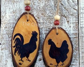 Rooster & Hen Ornament, Chicken Ornament, Christmas Ornaments, Farmhouse, Farm ornament, Gift