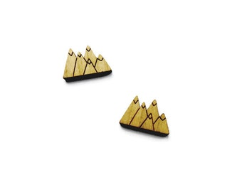 Mountain Stud Earrings // Mountain Earrings, Mountain Jewellery, Tiny Mountain Studs, Laser Cut Wooden Earrings, Mountain Jewelry