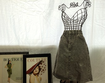Vintage Grey High Waisted Jean Skirt 90s Grunge