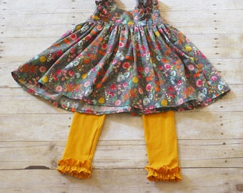 Girls fall outfit, knit ruffle pants, girls tunic top, girls fall top, girls fall pants, 5T, size 5T, Girls knit ruffle pants, 5T outfit