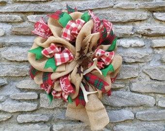Christmas Wreath Antler Wreath Antler Decor Christmas Antler Wreath Burlap Christmas Wreath