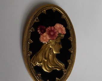 Vintage brooch pin brass and enamel of the 1970s portrait of woman