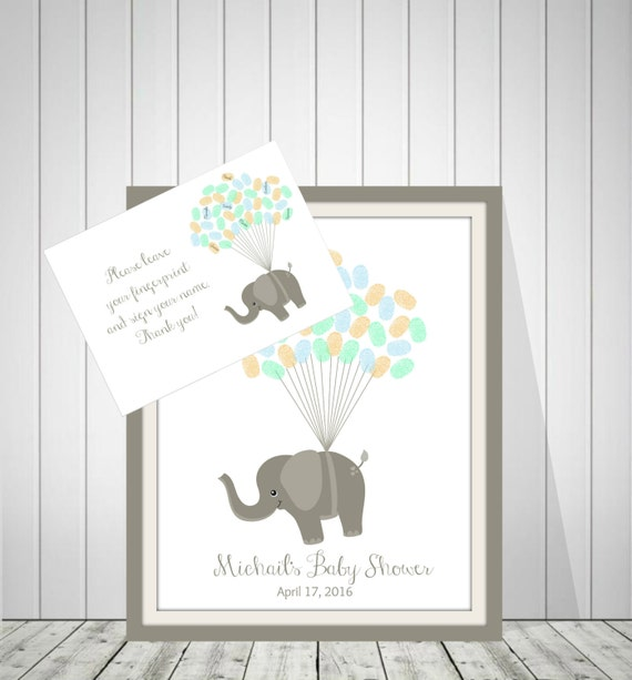 Baby Shower Guest Book Boy ~ Baby boy shower guest book gray elephants by