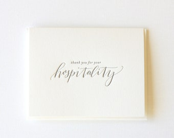 Thank You Letterpress Greeting Card | Thank You for your Hospitality