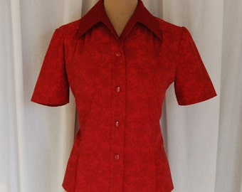 Vintage 1940s-Style New Handmade Blouse / WWII / Retro / Vintage / Size M-L