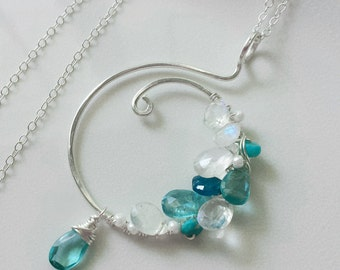 Moonstone Necklace Multi Gemstone Necklace, Sterling Silver Jewelry,  Apatite Necklace, Turquoise Necklace, Unique Necklace