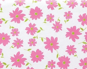 "Pink Daisy on White Tissue Paper # 411 ...10 large sheets, 20"" x 30"" .. Flower - Floral"
