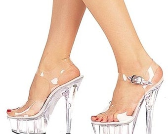 VIP 6 inch Handmade All Clear Ankle Strap High Heel Platform Stripper Woman Shoes  (Available on other high heel bottoms!)