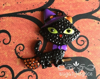 Halloween Cat Rhinestone Pendant - Black Cat Pendant - Black Cat Witch Pendant - Cat on Broom Pendant - Halloween Necklace - Rhinestone