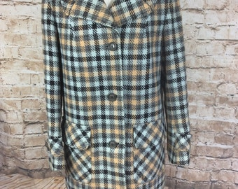SALE Vintage 60s Coat 3/4 Jacket Scottish Tweed Check Wool Made In Britain Mod Country Classic By Corsonia  12 UK