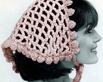 Crochet Hat Pattern Crochet Snood Pattern Crochet Hair Net Crochet Hair Accessories Crochet Boudoir Vintage 40s Crochet Snood Hair Net