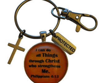 Scripture keychain, I can do all things through Christ who strengthens me, with cross and protected charms, Philippians 4:13