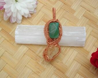 Gemstone Pendant / Green Moss Agate Natural Citrine Wire Wrapped Pendant / Abundance & Prosperity / Gardner's Stone Birthing Stone
