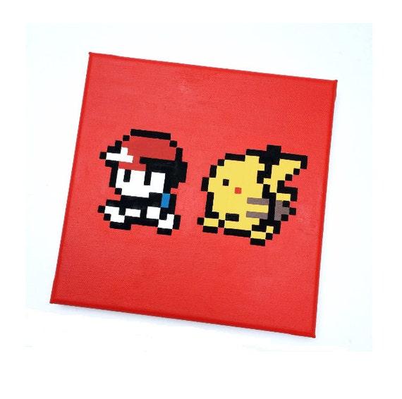 8 Bit Pikachu Following Ash V2 by WarbyWasTaken on