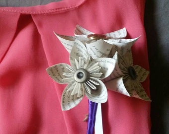 Book page corsage...pin-on paper flower corsage...wedding...mother of the bride...mother of the groom...grandmother...literary theme...date