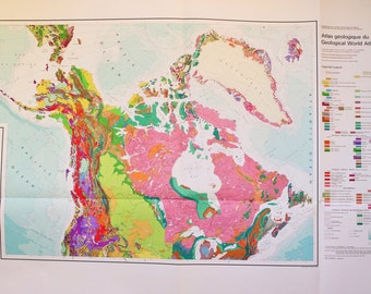 North America Geological Atlas Page - Huge 1976 Vintage Map, 100 cm X 80 cm approximately