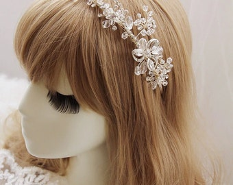 Bridal, Bridesmaid / Evening Rhinestones Boho Crystal Headband , Wedding Crystal Headband