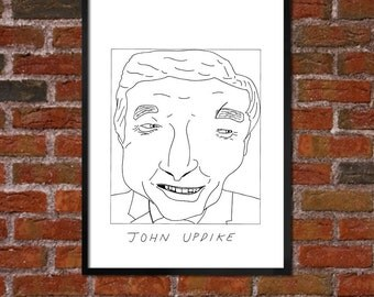 Badly Drawn John Updike - Literary Poster - *** BUY 4, GET A 5th FREE***
