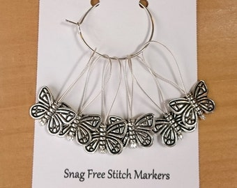 Butterfly Stitch Markers, Snag Free Beaded Knitting Stitch Markers, Set of 6 antique silver tone Butterfly Bead stitch markers