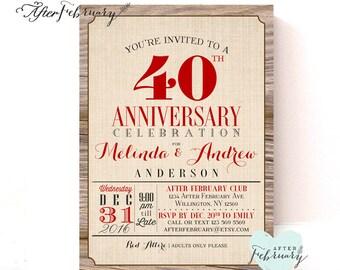 40th Anniversary Invitation Ruby Red Wedding Invite Wood Rustic