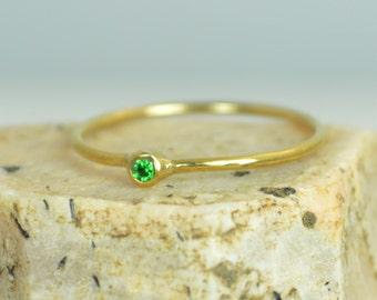 Tiny CZ Emerald Ring,Soild 14k Gold Emerald Stacking Ring, Green Emerald Ring, Emerald Mothers Ring, May Birthstone, Emerald Ring,Solid Gold