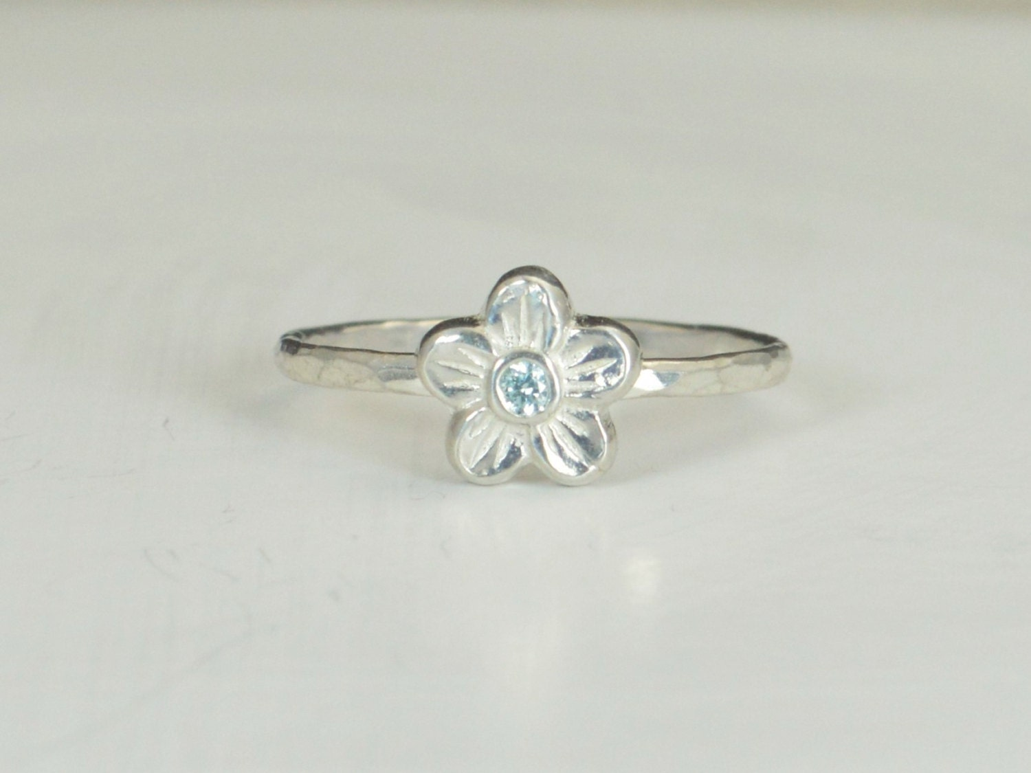 small flower aquamarine ring silver aquamarine ring flower