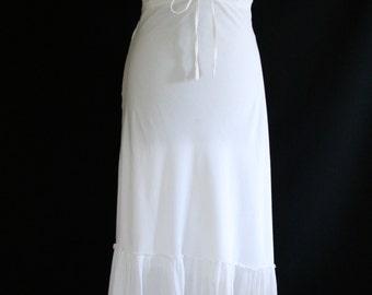 Long dress white / halter dress / dress hippie white / dress boho /  frilly dress