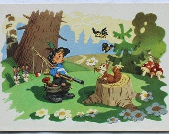 "Illustrator Znamensky. Vintage Soviet Postcard ""Petya-Cockerel"" - 1962. USSR Ministry of Communications Publ. Boy, Forest, Squirrel, Hares"