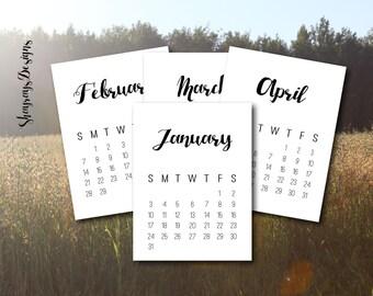 2016 Calendar 3x4 Journal Cards // Pocket Scrapbooking // Instant Download // Printable Calendars For Crafting
