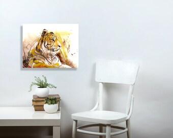 Tiger Art, tiger painting, watercolor art, office, gift for him, man cave decor, men, canvas print, 11x14, big cat, wall art, art print 5x7