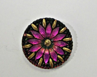 Vitrail Peach Flower Czech Glass Buttons Pink Flower Czech Glass Handmade Buttons Gold Button Vitrail Buttons 31mm (1 pc) 24BV3