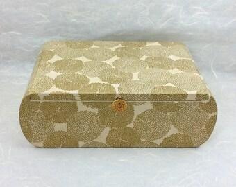 Decorative Box with Gold Mums on Ivory OOAK, Wedding Gift, Keepsake Box