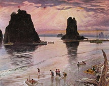"""1957 """"Pacific Ocean Sunset"""" - John Clymer Watercolor Art - British Columbia Rock Outcropping - 1950s Saturday Evening Post Magazine Cover"""