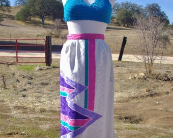 80's Vintage Pink & Purple Abstract Silk Skirt With Pockets! (Large Women's 10)