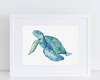 Sea Turtle , watercolor painting archival print.