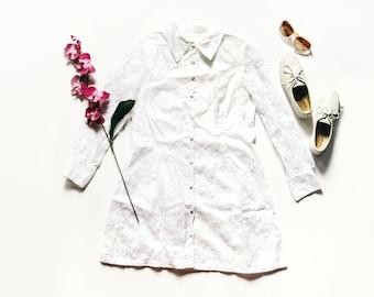 White Lace Dress   Vintage Dress   White Dress   Mini Dress   Long Sleeve Dress   60s Dress - Size M/L Medium Large