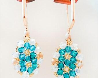 1158 - Seed bead earrings, aqua earrings, crystal earrings, leverback earrings, seed bead jewelry, aqua jewelry, crystal jewelry, handmade