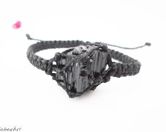Raw tourmaline bracelet, raw black tourmaline bracelet, tourmaline jewelry, jet black, schorl bracelet, radiation protection, black bracelet