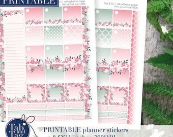 Monthly planner stickers PRINTABLE kit. Month stickers floral printable for MAMBI Happy planner.