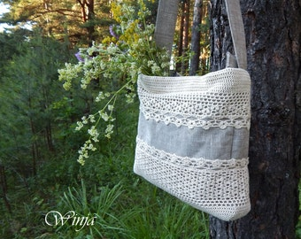 Textile bag, crochet bag, linen bag, boho bag, fabric hobo bag, women's bag, vegan bag, knitted bag, bag with lace, white bag, summer bag,