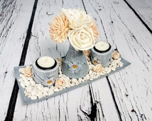 Wooden candleholders set centerpiece plate 2 holders vase with flowers silver orange peach white elegant stones table wedding decoration