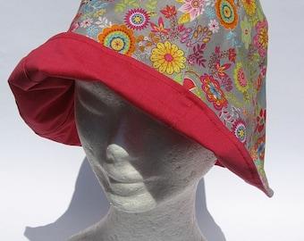 summer women hat, flower design, reversibile,